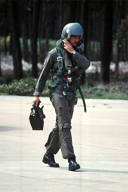 Portugese A-7P Corsair pilot wearing his HGU-55/P fitted with the PRU-36/P dual visor housing. His parachute harness is of the MA-2 type.